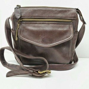 Fossil Brown Leather Organizer Purse Cross body 75